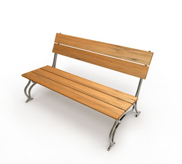 bench and white background