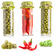 Glass jar of preserved capers, pepper and pea pod