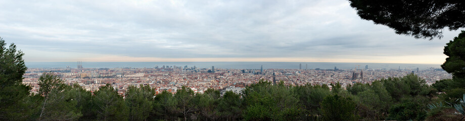 Barcelona skyline at sunset