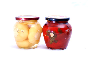 Pickled paprika in jar