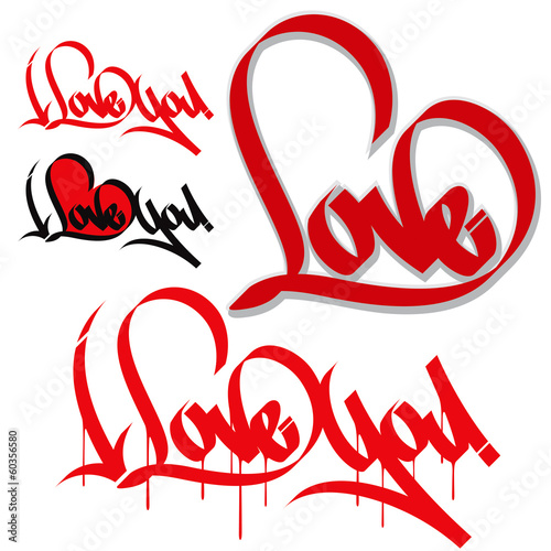 Love heart typography. I love you. Love graffiti, calligraphy. из ...