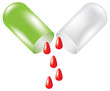 Green pill with drop of blood