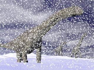 Argentinosaurus dinosaur in winter - 3D render