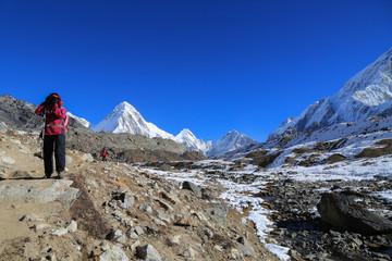 trekker kala patthar and pumo ri summit from everest trek