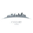 Calgary Alberta Canada city skyline silhouette white background