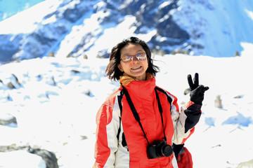 happy trekker acting from everest trek route