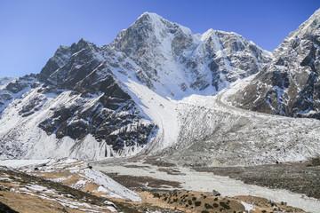 glacier beside of everest basecamp from everest trek nepal