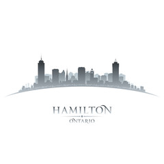 Hamilton Ontario Canada city skyline silhouette white background