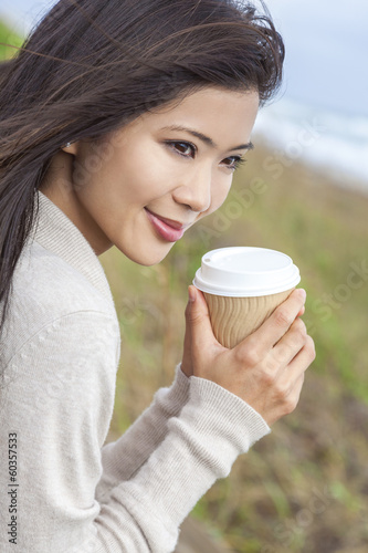 Asian Chinese Woman Girl Drinking Coffee Outside