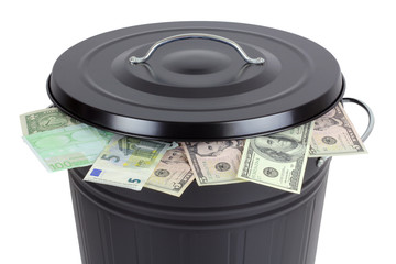 Euro and Dollar banknotes in a trash can