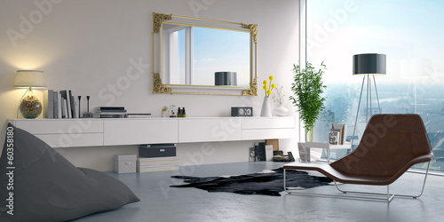 canvas print picture Luxusapartment in Hochhaus - luxury apartment with skyline