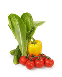 organic vegetables for salad, pepper, tomato and romaine salad
