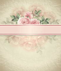 illustration background with heart and roses