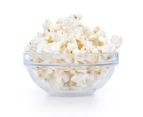 Glass bowl with popcorn