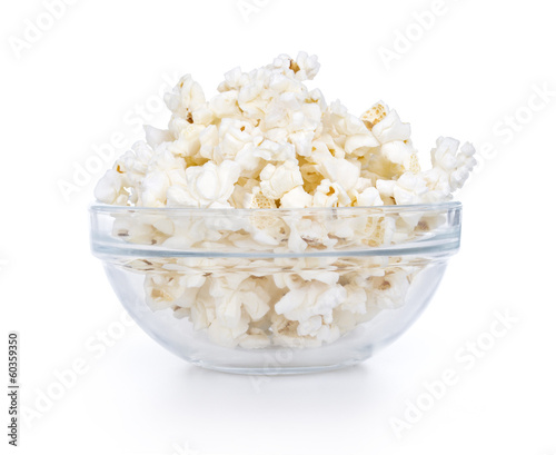 Glass bowl with popcorn