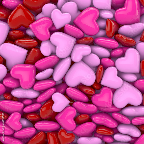 canvas print picture 3D - Hearts (II)