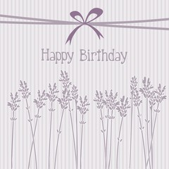 Lavender birthday card, invitation, vector background