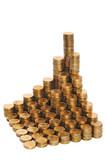 Монеты, сложенные в столбики. Концепция роста доходов