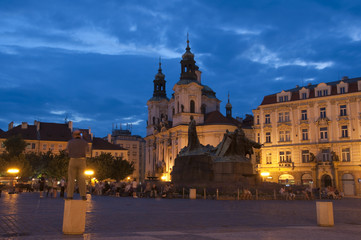 The Old Town Square at night in the center of Prague
