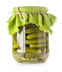 Pickles in glass jar Isolated on white background