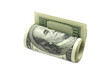 hundred-dollar bills folded in a roll