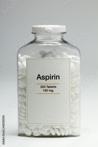 Bottle of aspirin, vertical