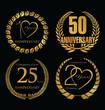 Anniversary labels in retro style