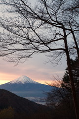 Mountain Fuji winter season at sunrise time , morning sky