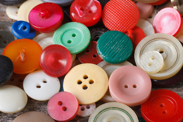 background of old colorful buttons closeup. macro
