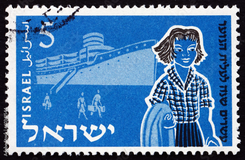 Postage stamp Israel 1955 Family and Ship