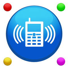 Mobile phone icon button vector with 4 color background included