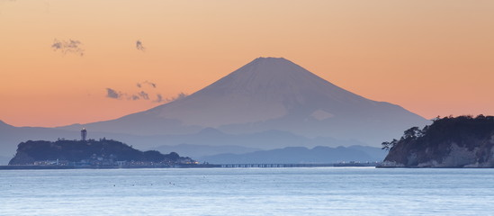 Mountain Fuji at sunset time from Sagami bay , Kamakura city