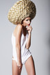 Ultramodern Hairstyle. Woman with Creative Art Wig with Braids