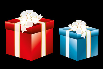 Isolated gift boxes on black