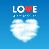 Vector heart shaped cloud in the sky poster