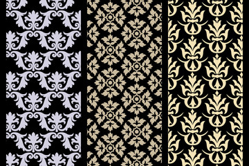 Set of 3 Victorian seamless pattern