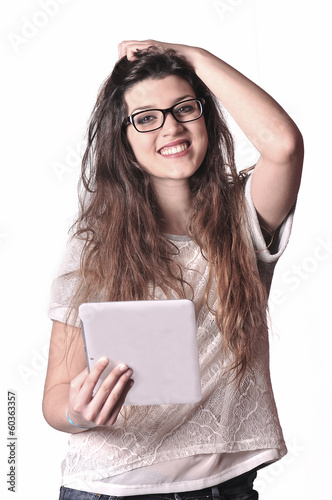 Cute girl with tablet computer