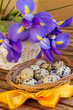 easter eggs and blue irises