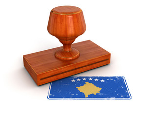 Rubber Stamp Kosovo flag (clipping path included)