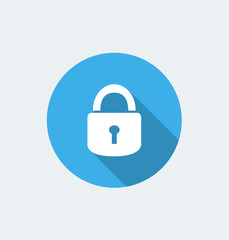 Padlock icon - flat design with long shadow