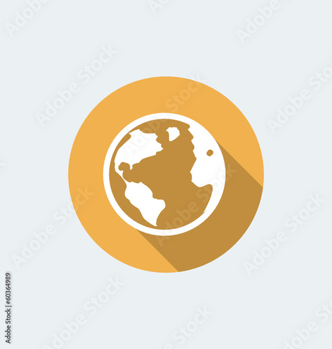 Earth globe icon - flat design with long shadow