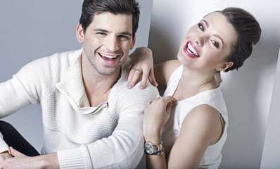 Portrait of young laughing couple