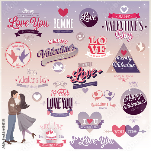 Valentine`s day set - emblems and other decorative elements