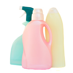 Plastic detergent bottles on white background