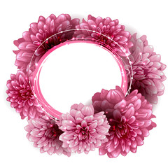 Round floral frame made of peony flowers