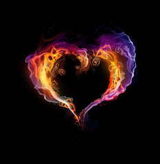 St. Valentine burning heart with flames against dark background
