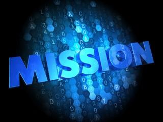 Mission on Dark Digital Background.