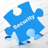 Safety concept: Security on puzzle background