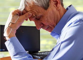 Elderly worried businessman
