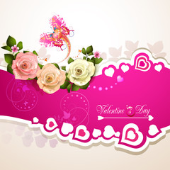 Pink background with heart and roses for Valentine's